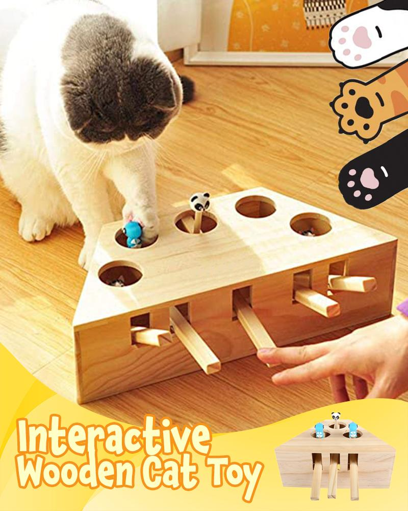 Interactive Wooden Cat Toy Pets LuminousUnicorn Five-Hole