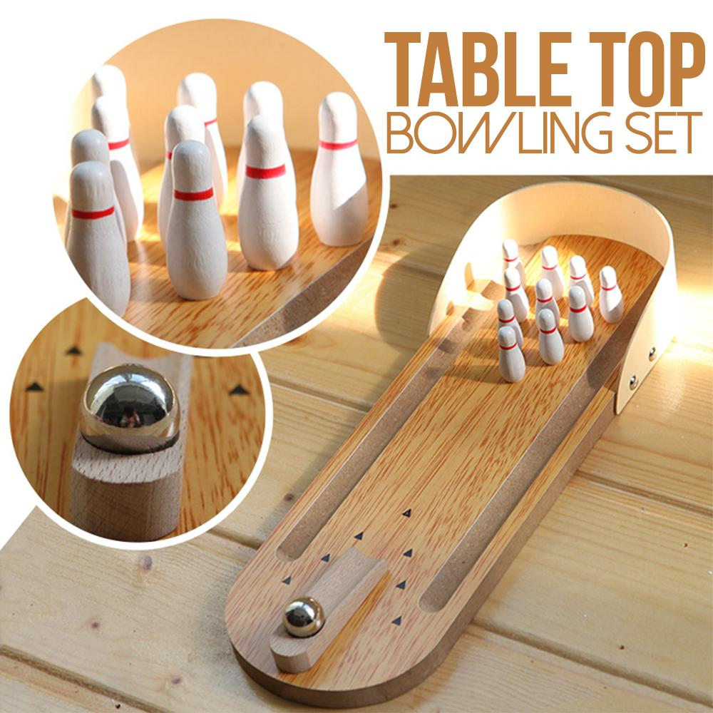 Mini Wooden Tabletop Bowling Game Set Kids DazzlingBreeze