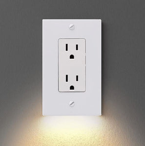 Outlet Wall Plate with Led Night Lights Home trillionwish TYPE B WHITE