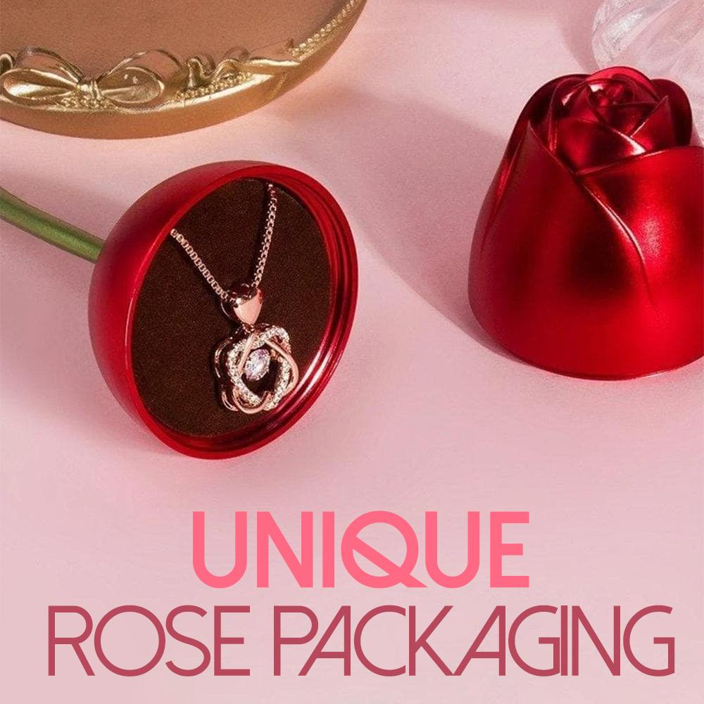 Rose & Necklace Gift Set Accessories DazzlingBreeze Necklace + Rose Gift Box Gold