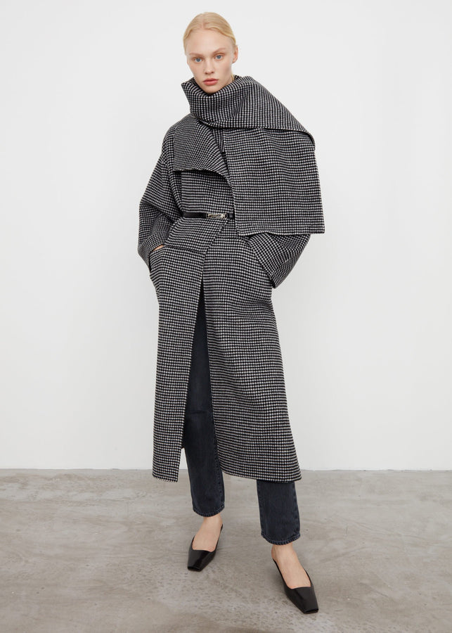 Signature wool cashmere coat houndstooth