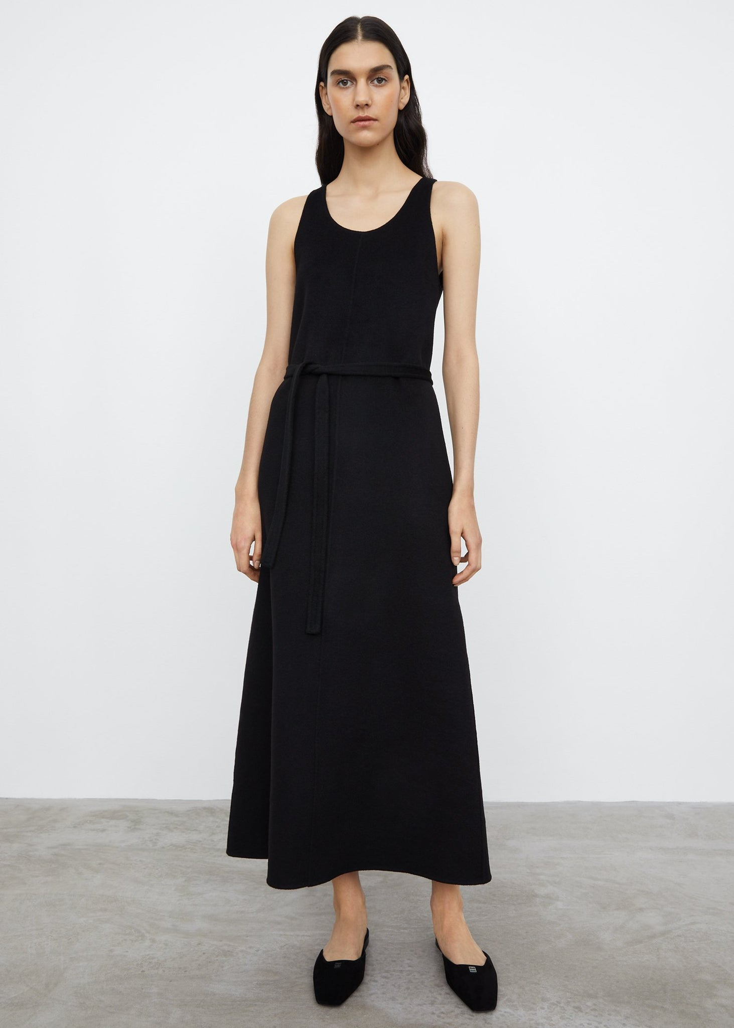 Double wool tank dress black