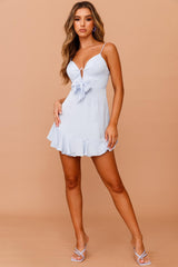 Call Me Baby Mini Dress // Steel Blue