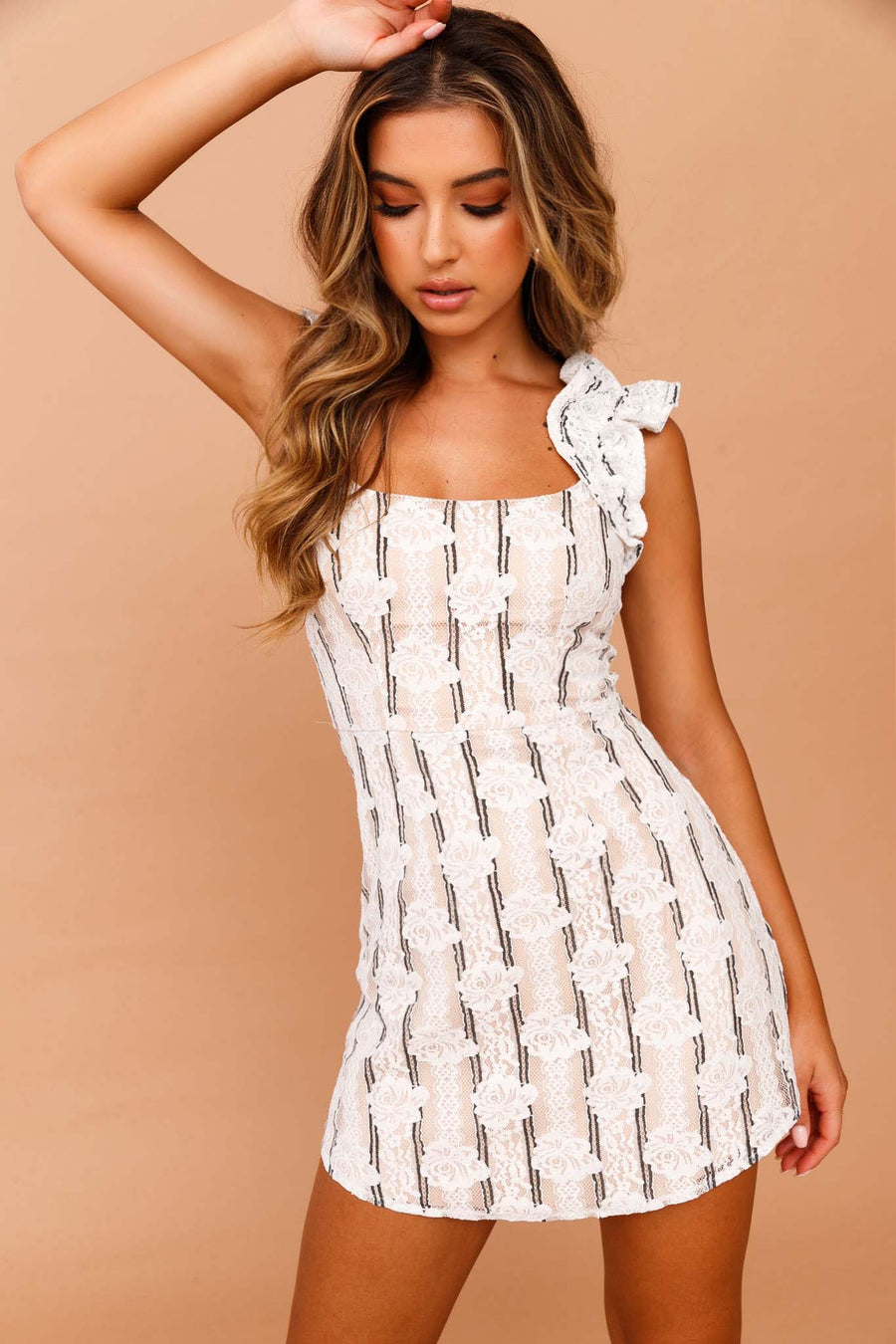 Get In Line Lace Mini Dress // White