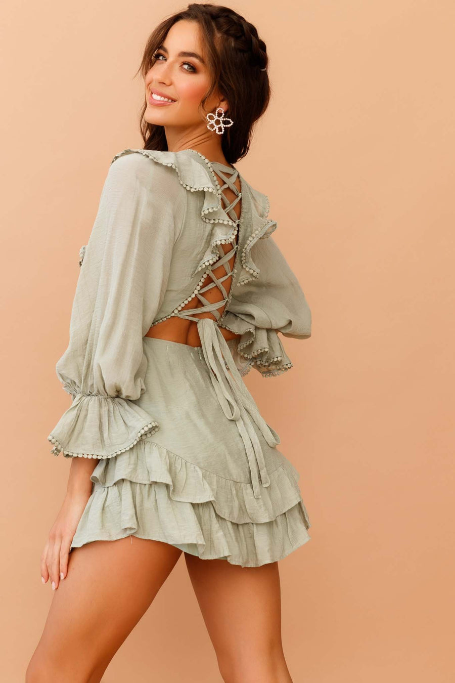 Ruffled Up Mini Dress // Olive