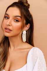 Santorini White Earrings // Beige
