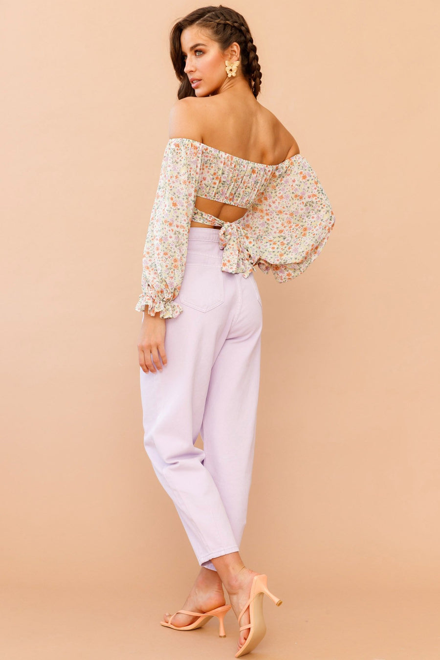 Superbloom Long Sleeve Crop Top // Pink