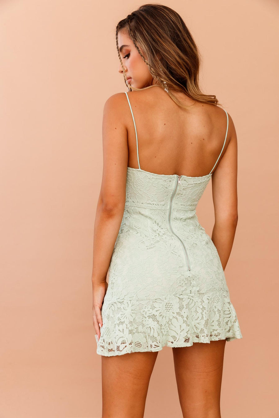 Lace Be Friends Mini Dress // Apple Green