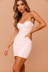 Ripple Effect Bodycon Mini Dress // Pink