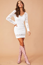 Venice Beach Crochet Dress // White