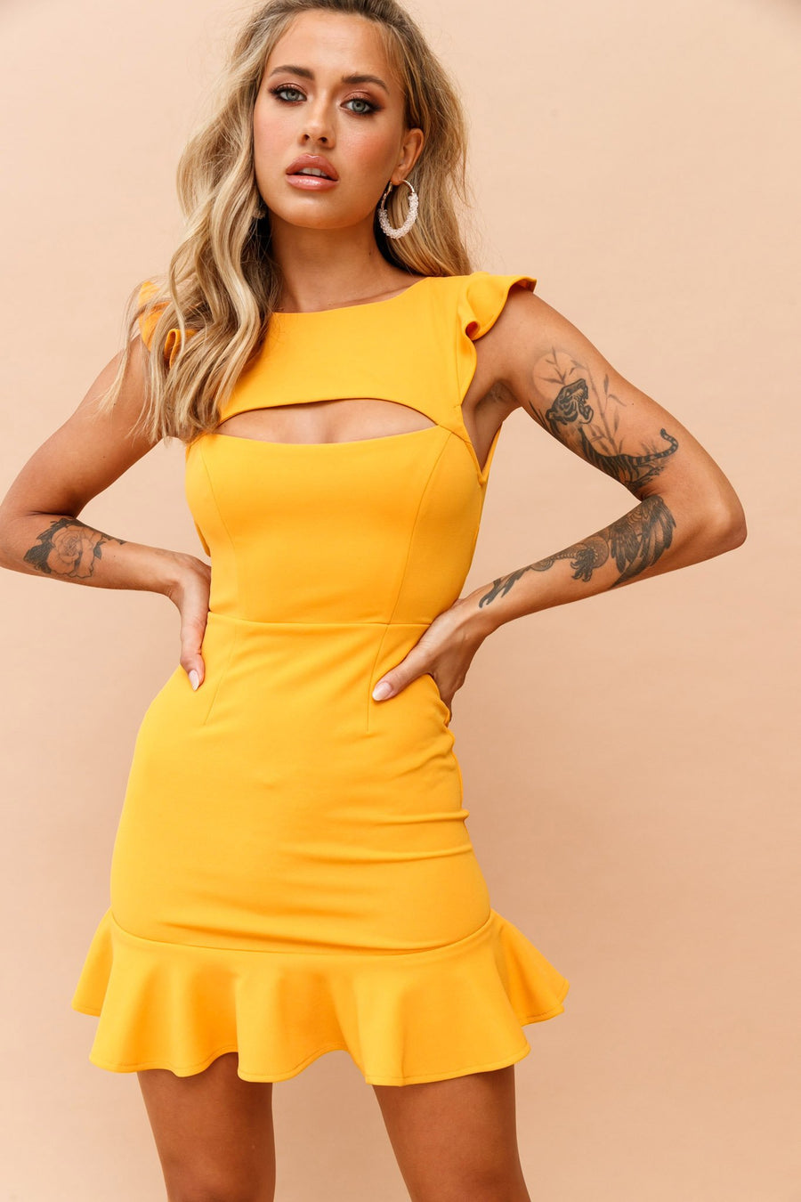 Sassy Mini Dress // Mustard