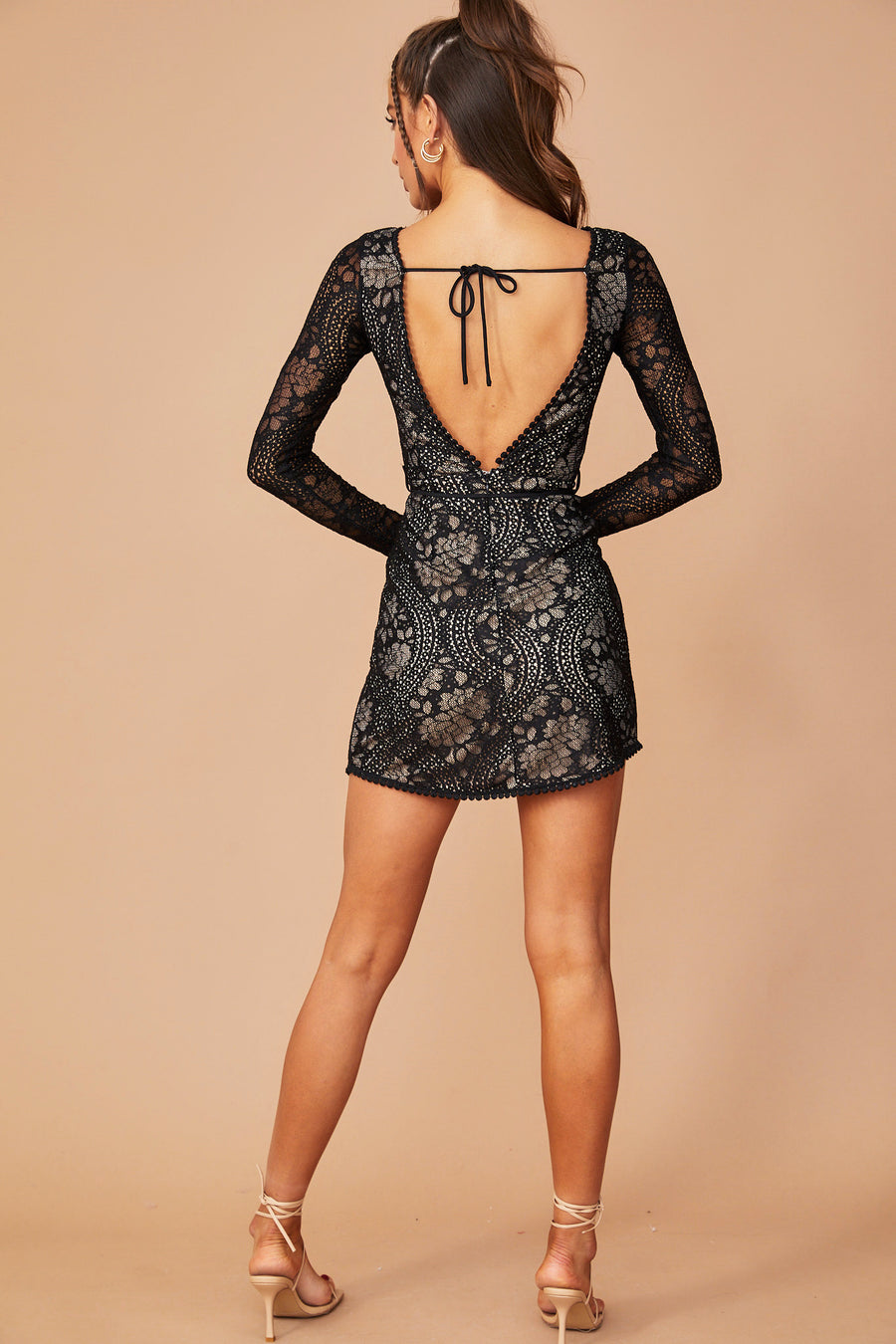 Josephine Lace Mini Dress // Black