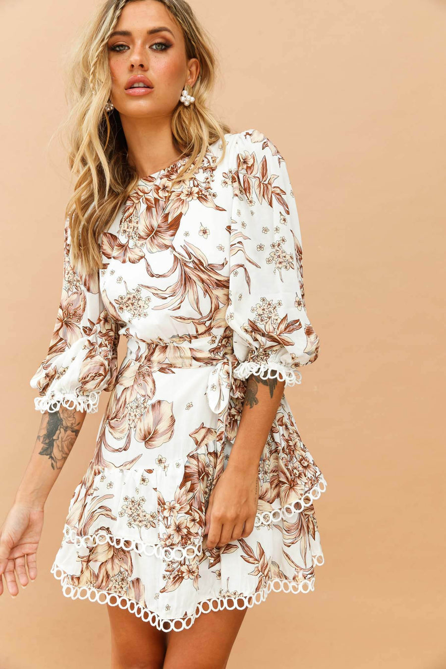 Spring Palms Dress // White