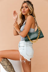 Rachie Gold Chain Bag Green