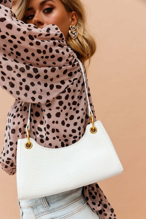 Rachie Gold Chain Bag White