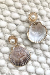 Shellshock Earrings // Brown/White