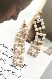 Pearl Eternity Pave Drop Earrings
