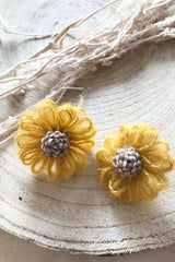 Morning Glory Flower Earrings Yellow