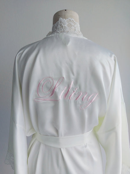 Monogrammed Silk Robe (120 colours)