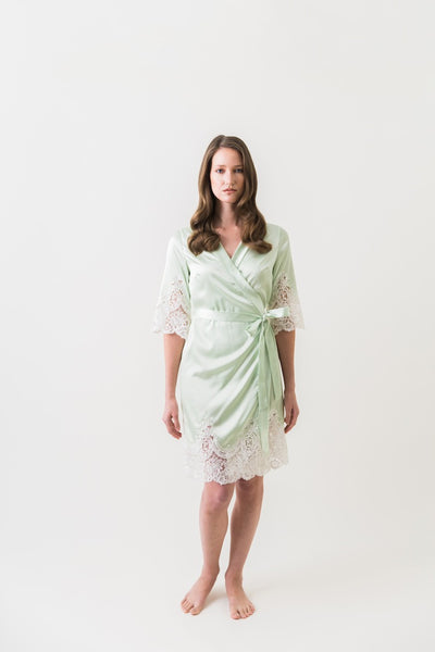 Acacia Satin Robe (Mint)