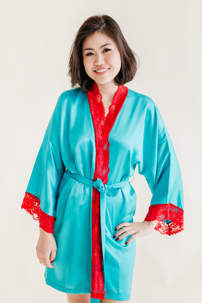 Silk Robe XS with Lace #11