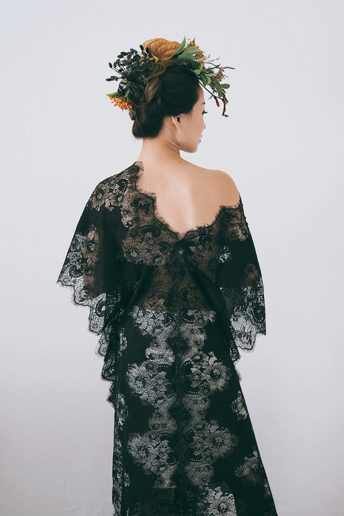 Black Cotton Lace Kaftan - Bells & Birds