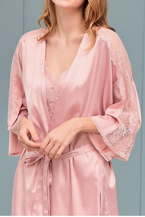 Darling Pink Satin Robe - Bells & Birds