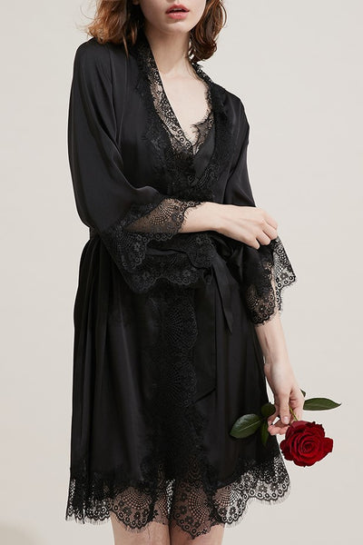 Desiree Satin Lace Robe