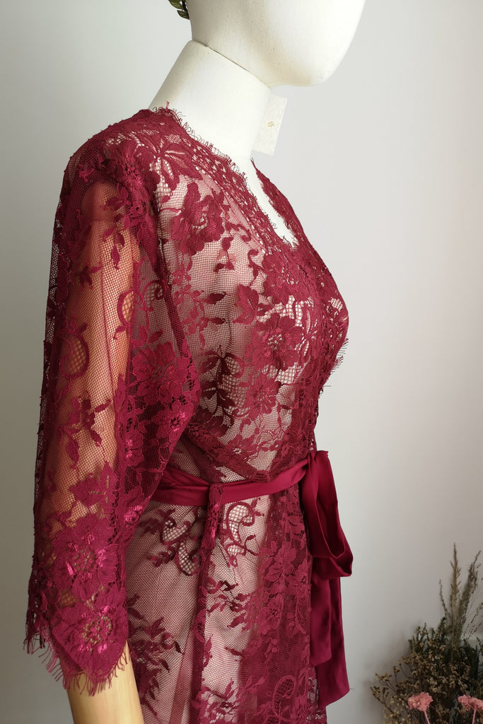 Ever After Lace Robe (Wine Red)
