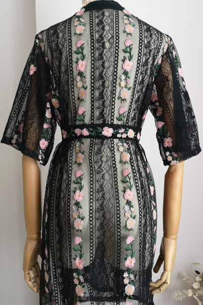 Floral Garden Lace Robe (Black)
