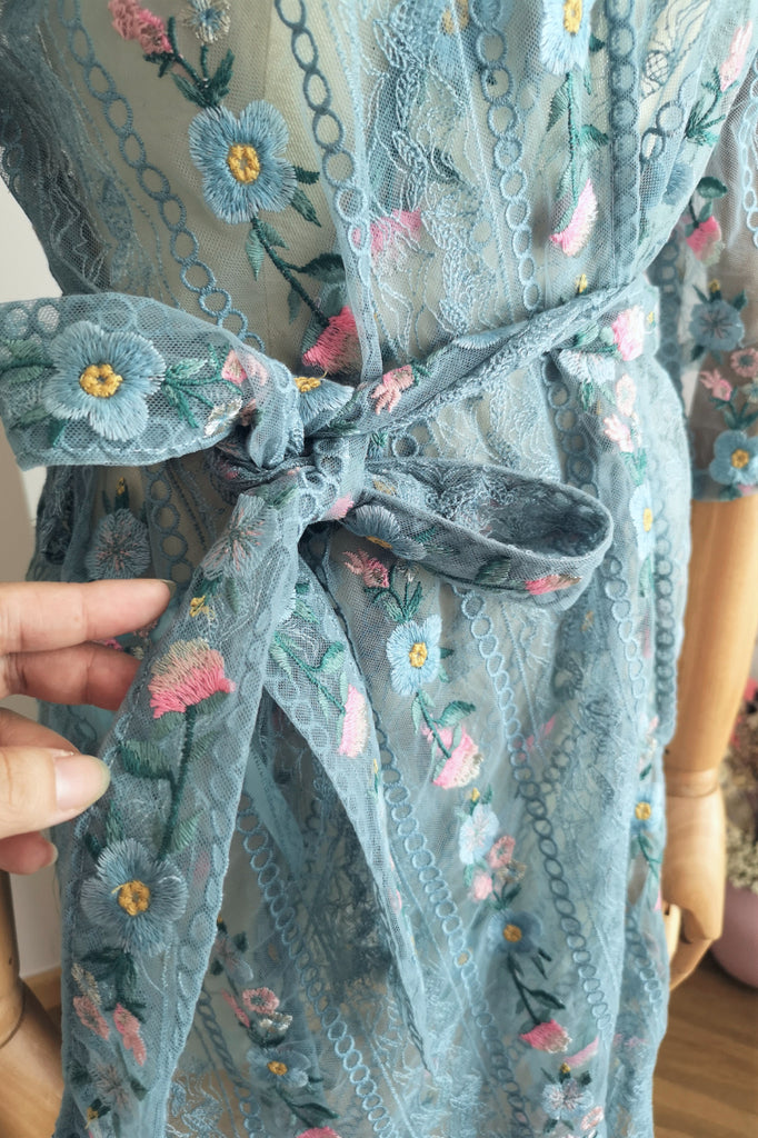 Floral Garden Lace Robe (Blue)