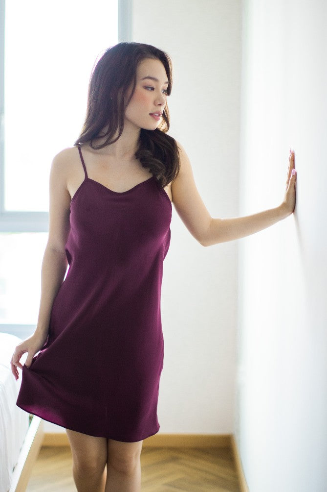 Mulberry Silk Midi Slip (Berry)