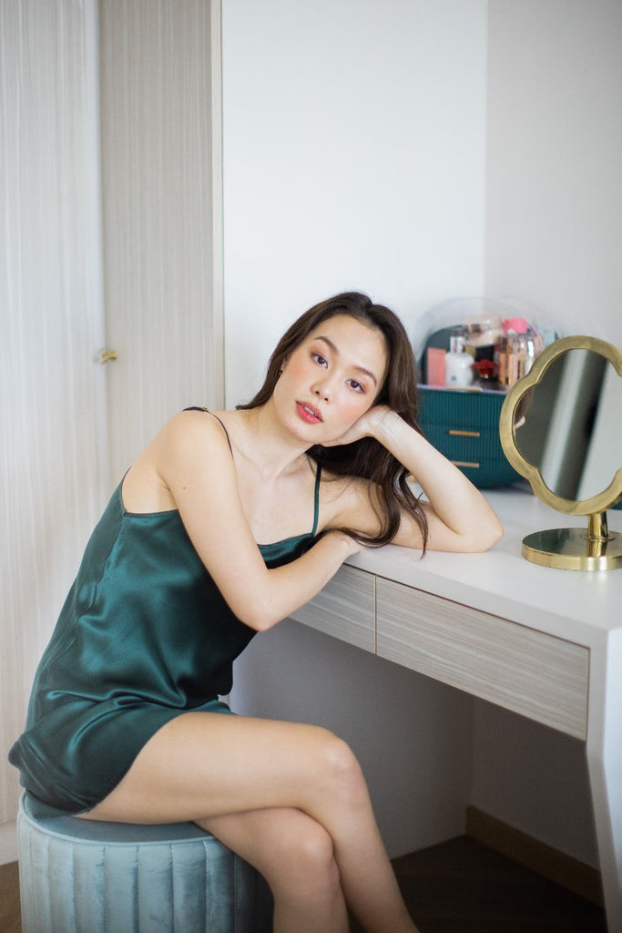 Mulberry Silk Midi Slip (Emerald)