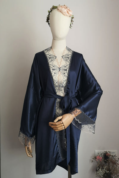 Silk Robe S with Lace #29