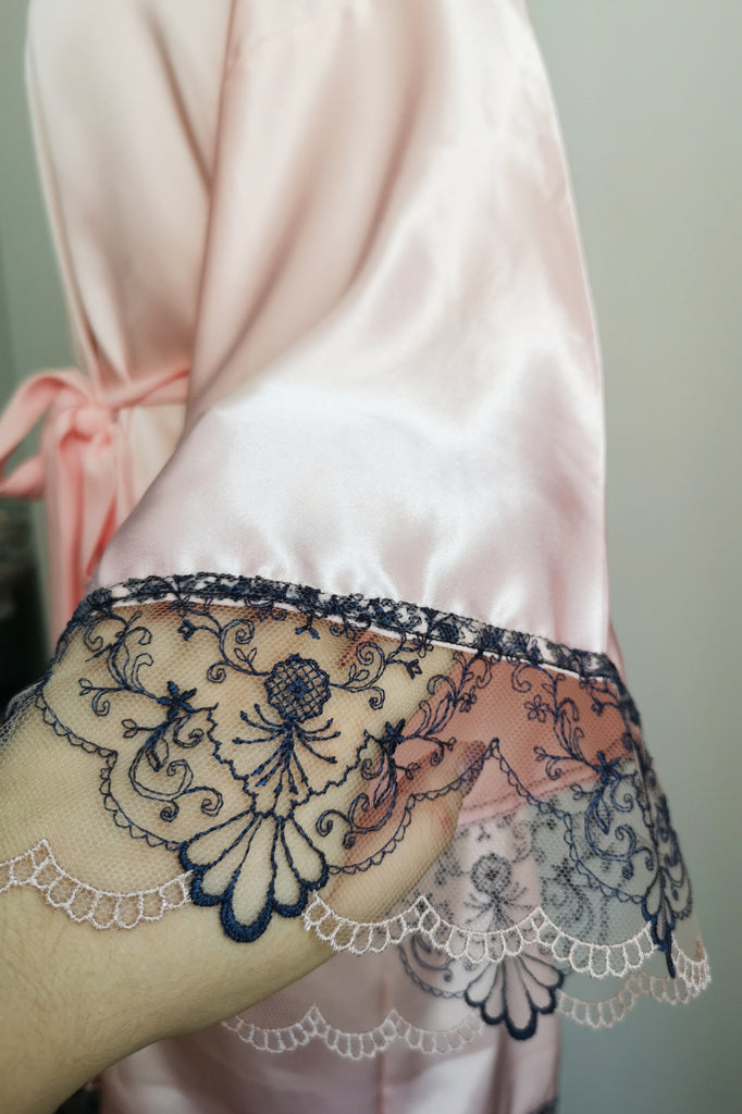 Silk Robe S with Lace #9
