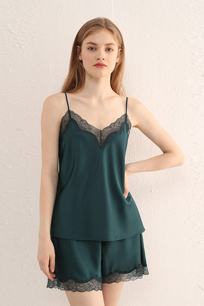 Satin Cami Set (Emerald)