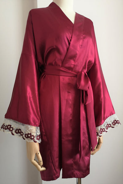 Silk Robe S with Lace #219