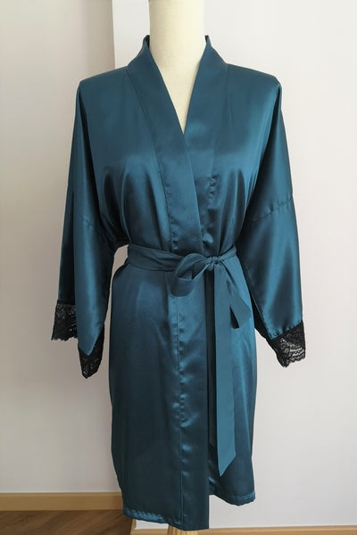 Silk Robe S with Lace #23