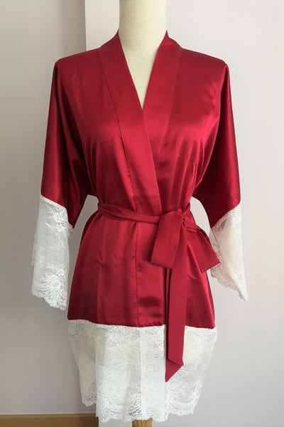 Silk Robe XS with Lace #30