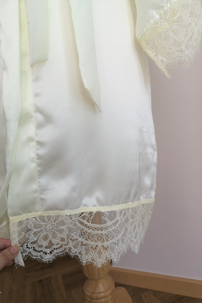 Silk Robe S with Lace #3