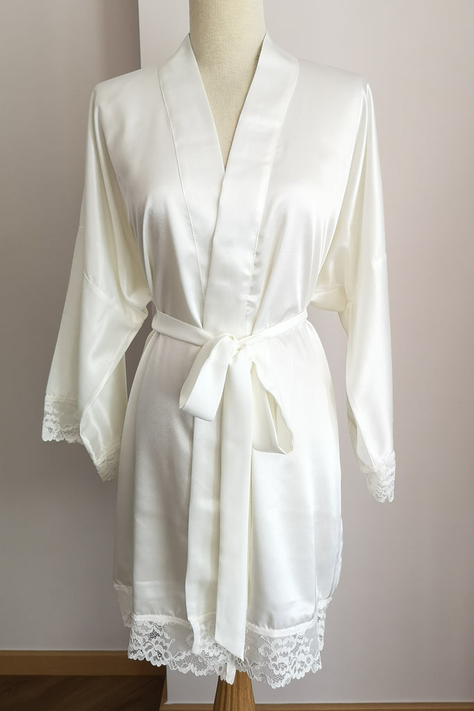 Silk Robe S with Lace #61