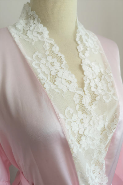 Silk Robe S with Lace #62