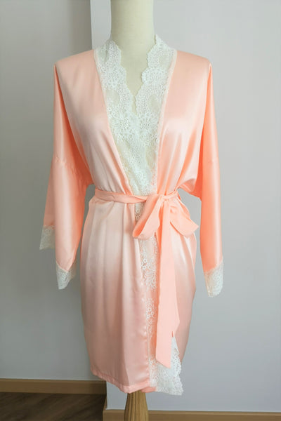 Silk Robe S with Lace #70