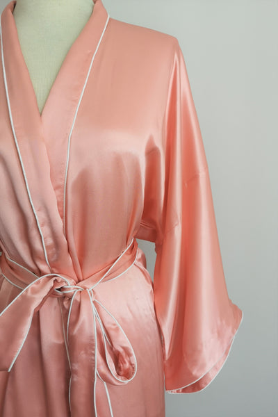 Silk Robe M with Piping #78