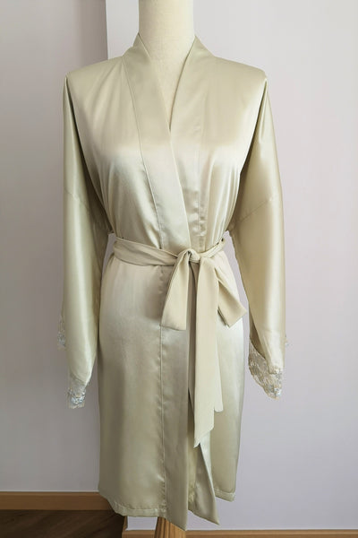 Silk Robe S with Lace #8
