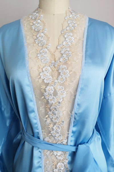 Silk Robe S with Lace #18