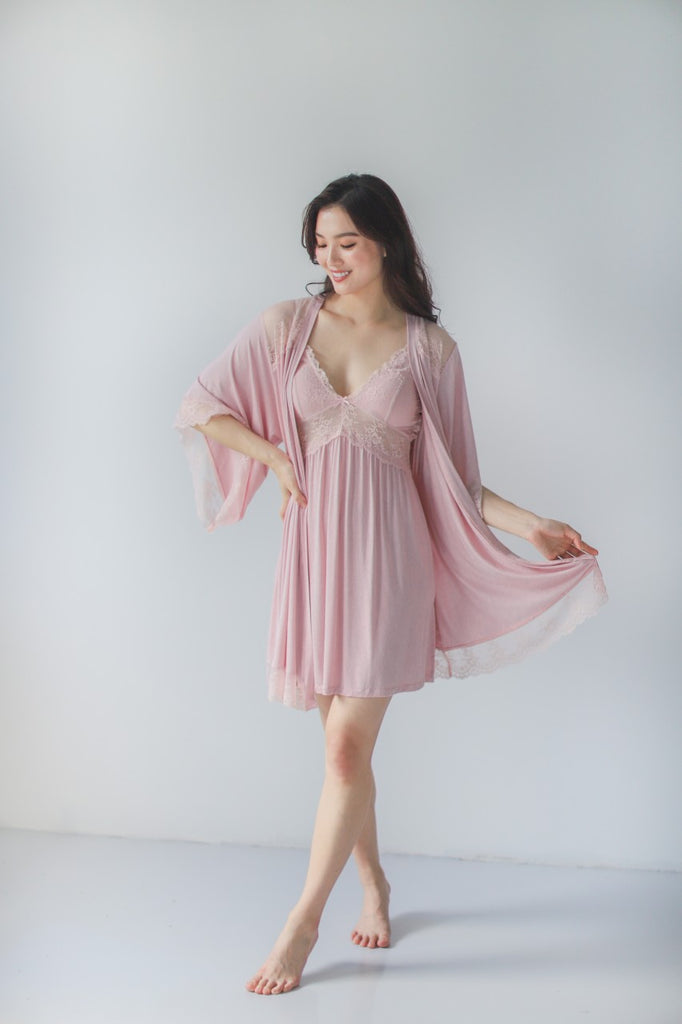 Sofia Cotton Robe (Pink)
