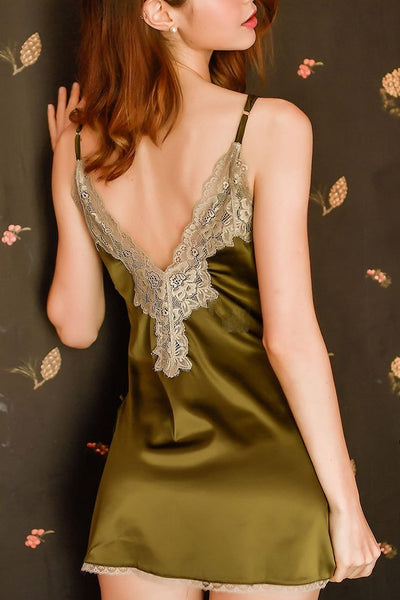 Alyona Lace Satin Slip (Green)