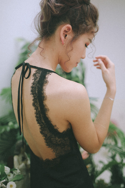 Black Chantilly Lace Slip