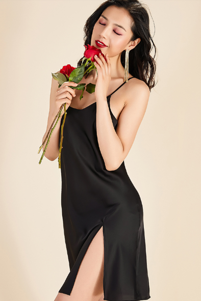 Black Midi Satin Slip